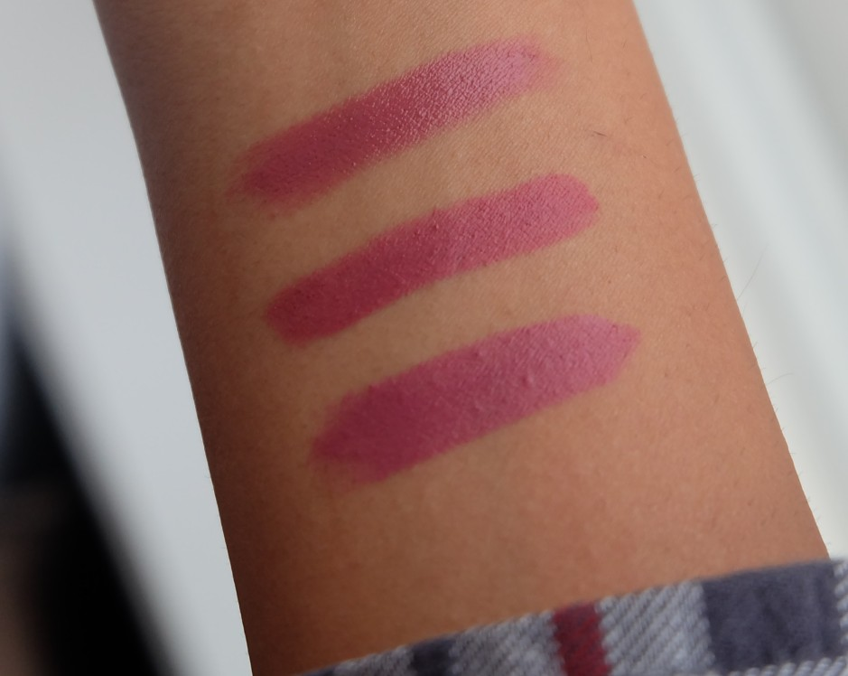 From top to bottom: Bite High Pigment Pencil in Rhubarb, Revlon Colorburst Matte Balm in Sultry, and MAC Captive