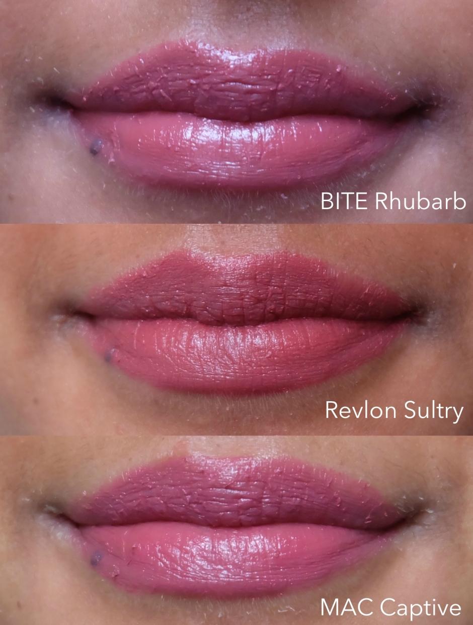 Bite rhubarb, revlon matte balm in sultry, mac captive dark skin