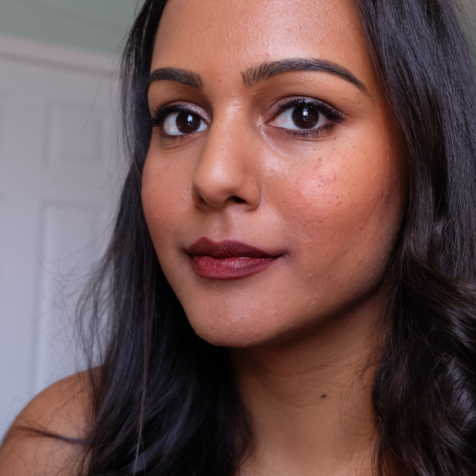Huda Beauty Lip Contour Matte Pencil in Vixen on nc45 dark skin